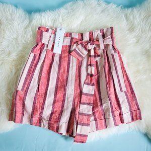 Topshop 4 Red Stripe Linen Blend Shorts NWT